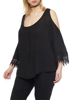 Plus Size Cold Shoulder Top with Crochet Trim - 1803054266850