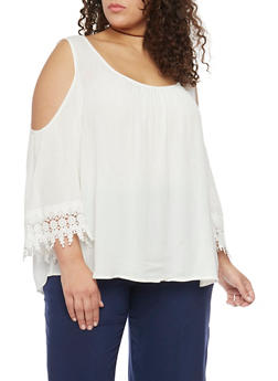 Plus Size Cold Shoulder Top with Crochet Trim - IVORY  OFF WHITE - 1803054266850