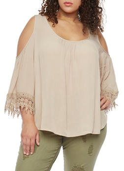 Plus Size Cold Shoulder Top with Crochet Trim - 1803054266850