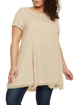 Plus Size Sharkbite Tunic Top with Back Zip - 1803054266900