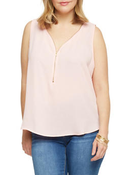 Plus Size Sleeveless Zip V Neck Top - 1803054267865