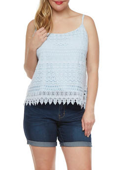 Plus Size Crochet Tank Top - 1803054268106