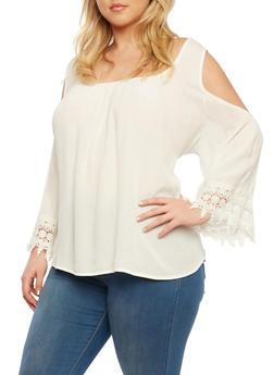 Plus Size Cold Shoulder Top with Crochet Trim - 1803054268500