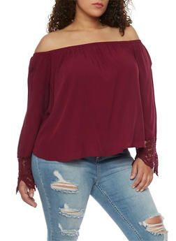 Plus Size Off the Shoulder Top with Crochet Cuffs - BURGUNDY - 1803054268501