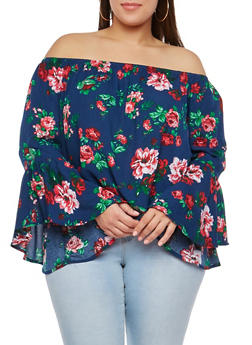 Plus Size Floral Off the Shoulder Bell Sleeve Top - 1803054268591