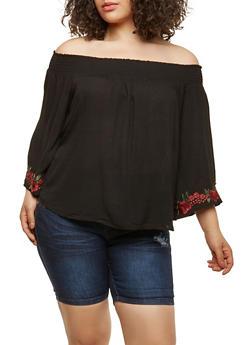 Plus Size Off the Shoulder Peasant Top - 1803054268979