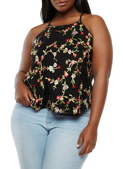 Plus Size Floral Embroidered Mesh Tank Top - 1803054268982