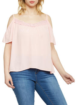 Plus Size Cold Shoulder Top with Crochet Neckline - 1803054269233