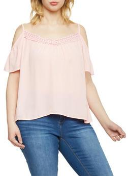 Plus Size Cold Shoulder Top with Crochet Neckline - BLUSH - 1803054269233