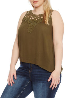 Plus Size Sleeveless Top with Crochet Trim - OLIVE - 1803054269235