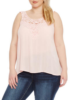 Plus Size Sleeveless Top with Crochet Trim - 1803054269235