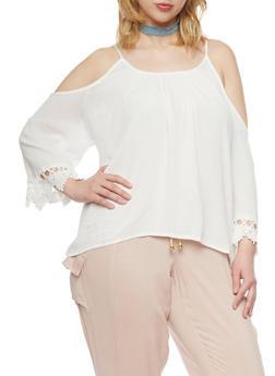 Plus Size Cold Shoulder Top with Crotchet Trim - 1803054269297