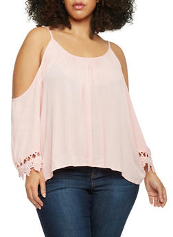 Plus Size Cold Shoulder Top with Crotchet Trim - 1803054269297