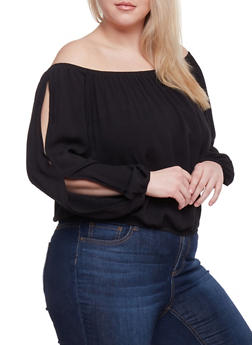 Plus Size Off the Shoulder Crinkle Gauze Top - 1803054269299