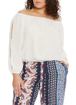 Plus Size Off the Shoulder Crinkle Gauze Top - IVORY (OFF WHITE) - 1803054269299