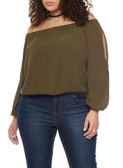 Plus Size Off the Shoulder Crinkle Gauze Top - OLIVE - 1803054269299