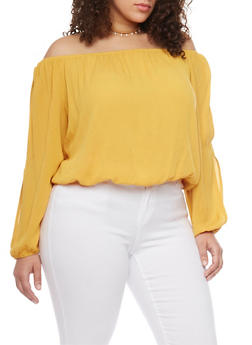 Plus Size Off the Shoulder Crinkle Gauze Top - NEW MUSTARD - 1803054269299