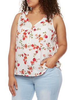Plus Size Printed Sleeveless Top - 1803054269301