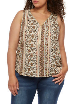 Plus Size Sleeveless Printed Top with Zipper - 1803054269302