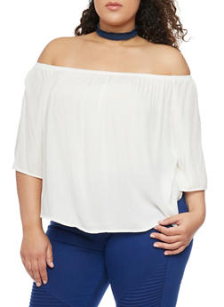 Plus Size Off the Shoulder Gauze Top - OFF WHITE - 1803054269389