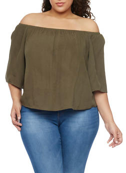 Plus Size Off the Shoulder Chiffon Top with Cropped Hem - OLIVE - 1803054269389