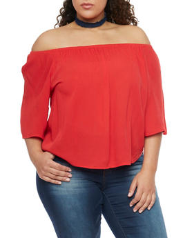 Plus Size Off the Shoulder Gauze Top - 1803054269389