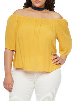 Plus Size Off the Shoulder Chiffon Top with Cropped Hem - MUSTARD - 1803054269389