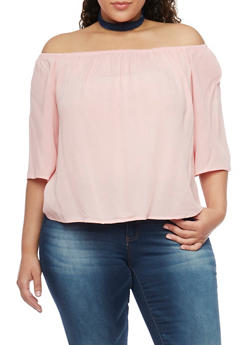 Plus Size Off the Shoulder Chiffon Top with Cropped Hem - BLUSH - 1803054269389