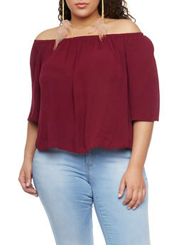 Plus Size Off the Shoulder Chiffon Top with Cropped Hem - BURGUNDY - 1803054269389