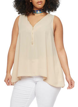 Plus Size Sleeveless Zip Sharkbite Top - 1803054269427