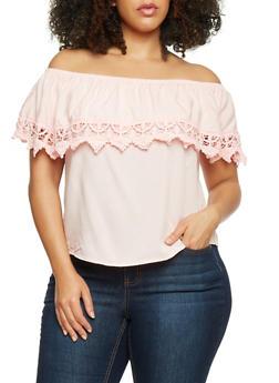 Plus Size Off the Shoulder Top with Crochet Trim - 1803054269444
