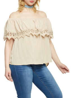 Plus Size Off the Shoulder Top with Crochet Trim - 1803054269444