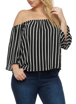 Plus Size Off the Shoudler Stripe Top - 1803054269457