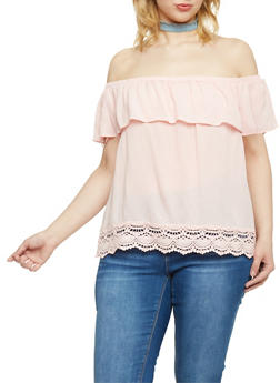 Plus Size Ruffled Off the Shoulder Top with Crochet Trim - BLUSH - 1803054269474