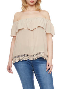 Plus Size Ruffled Off the Shoulder Top with Crochet Trim - 1803054269474