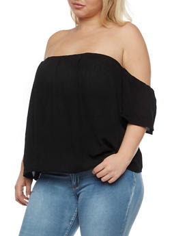 Plus Size Cold Shoulder Solid Top - 1803054269649