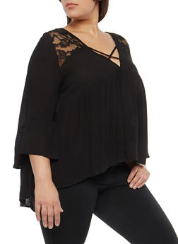 Plus Size Caged Neck Lace Trim Top - 1803054269801
