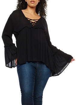 Plus Size Bell Sleeve Babydoll Top - 1803054269825