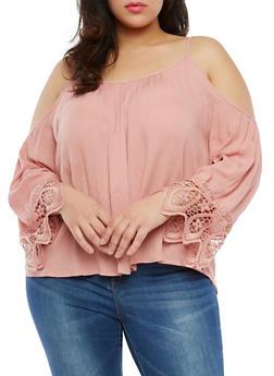 Plus Size Crochet Trim Cold Shoulder Top - 1803054269836