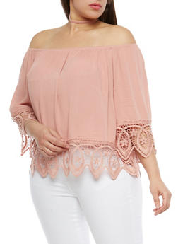 Plus Size Crochet Trim Off the Shoulder Top - 1803054269865