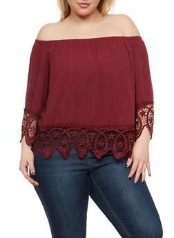 Plus Size Crochet Trim Off the Shoulder Top - 1803054269865