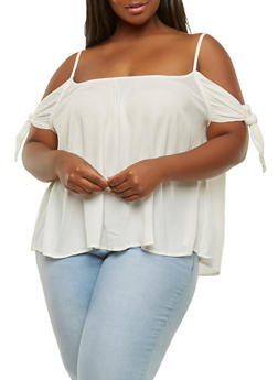 Plus Size Off the Shoulder Tie Sleeve Top - 1803054269867