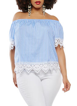 Plus Size Striped Off the Shoulder Top - 1803054269876