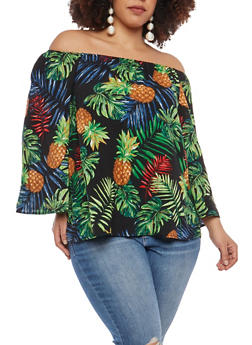 Plus Size Tropical Print Off the Shoulder Top - 1803056120427
