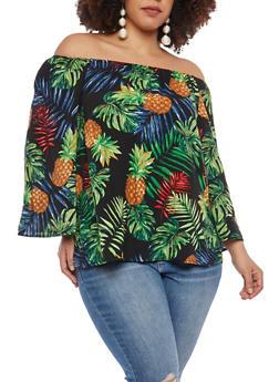 Plus Size Tropical Print Off the Shoulder Top - 1803056120427