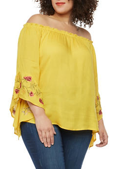 Plus Size Off the Shoulder Embroidered Bell Sleeve Top - 1803056122486