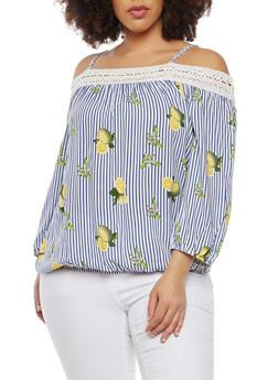 Plus Size Lemon Stripe Off the Shoulder Top - 1803056122491