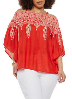 Plus Size Printed Off the Shoulder Top - 1803056122493