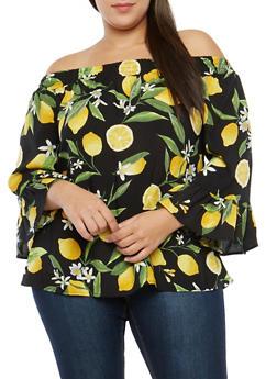 Plus Size Lemon Print Off the Shoulder Top - 1803056122494