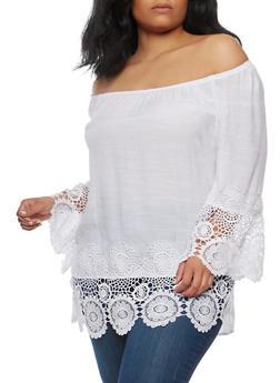 Plus Size Crochet Trim Off the Shoulder Top - 1803056122514